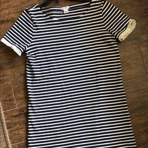JCrew Navy Striped T shirt dress XXS